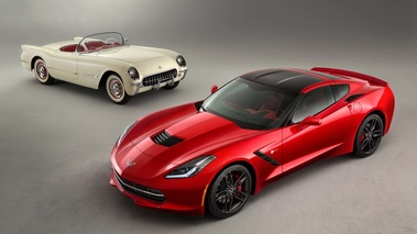 Chevrolet Corvette C7 Stingray rouge & C1 blanc